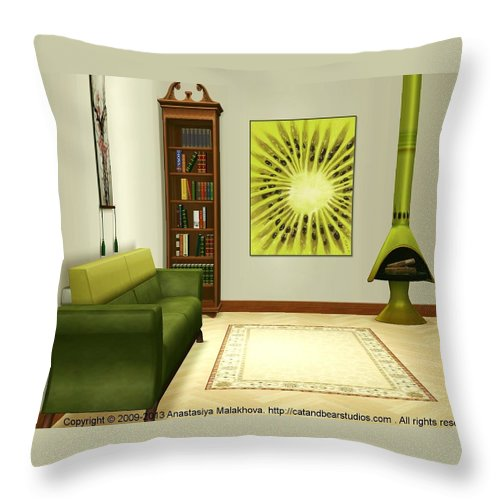 Interior Throw Pillow featuring the digital art Interior Design Idea - Kiwi by Anastasiya Malakhova