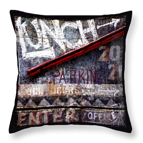 Sign Throw Pillow featuring the photograph Lunch by Carol Leigh