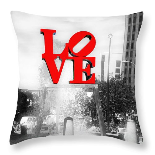 Love Statue Throw Pillow featuring the photograph Philadelphia Love Fusion by John Rizzuto