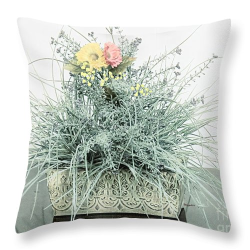 Throw Pillow Arrangement : Spikey Floral Arrangement In Teal Throw Pillow for Sale by Shelly Weingart