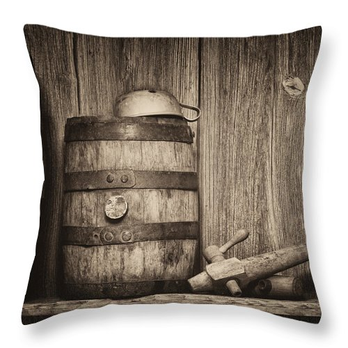 Alcohol Throw Pillow featuring the photograph Whiskey Barrel Still Life by Tom Mc Nemar