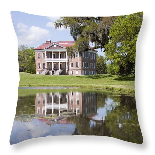 Historic Throw Pillow featuring the photograph Historic Drayton Hall In Charleston South Carolina by Dustin K Ryan