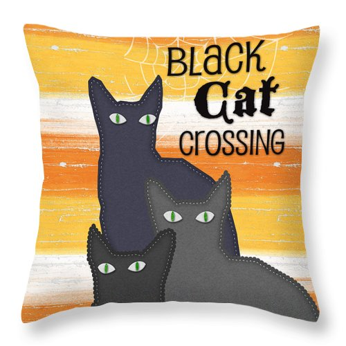 Cat Throw Pillow featuring the painting Black Cat Crossing by Linda Woods