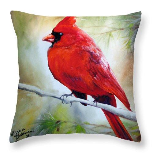 Cardinal Bird Throw Pillows : Cardinal 18 Throw Pillow for Sale by Marcia Baldwin