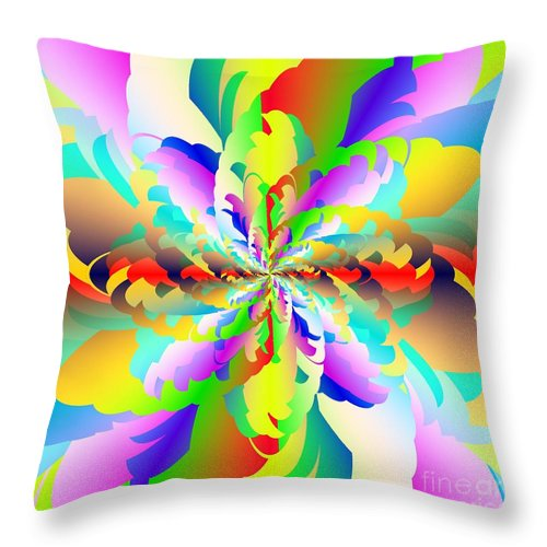 Flamboyant Fractal Fire Flower Throw Pillow featuring the digital art Flamboyant Fractal Fire Flower by Michael Skinner