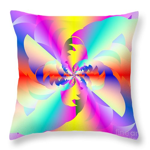 Fractured Fractal Rainbow Throw Pillow featuring the digital art Fractal Rainbow by Michael Skinner