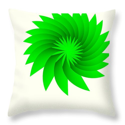 Green Flower Throw Pillow featuring the digital art Green Flower by Michael Skinner