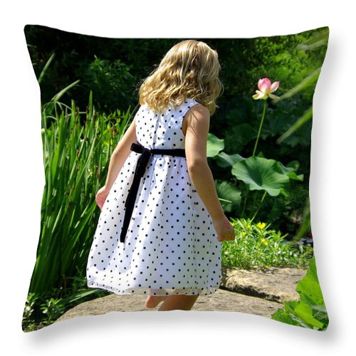 Garden Throw Pillow featuring the photograph In The Gardens by Linda Mishler