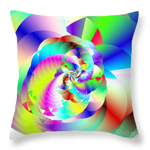 Rainbow Fractal Clouds Throw Pillow featuring the digital art Mighty Clouds Of Joy by Michael Skinner