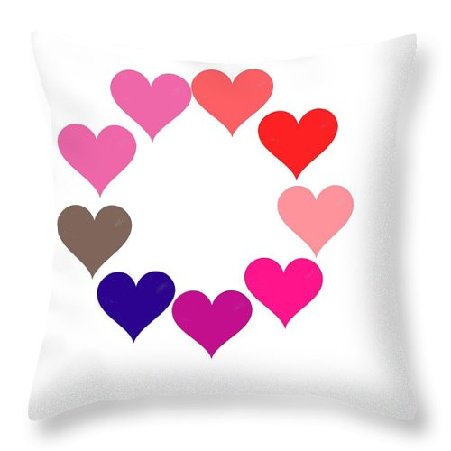 Rainbow Heart Ring Throw Pillow featuring the digital art Rainbow Heart Ring by Michael Skinner