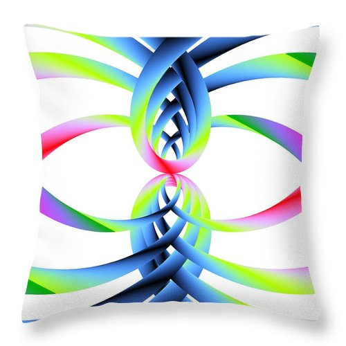 Rainbow Loops Throw Pillow featuring the digital art Rainbow Loops by Michael Skinner