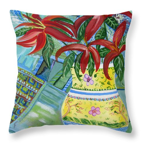 Day Lillies Throw Pillow featuring the painting Red Day Lillies by John Keaton