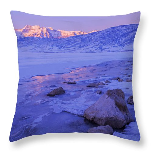 Lake Throw Pillow featuring the photograph Sunrise Ice Reflection by Chad Dutson