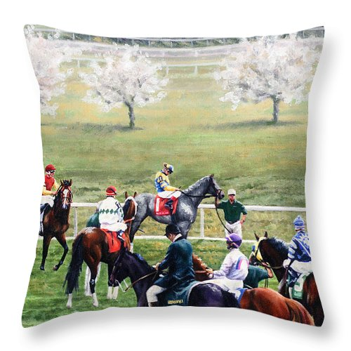Throw Pillow featuring the painting To The Gate At Keeneland by Thomas Allen Pauly