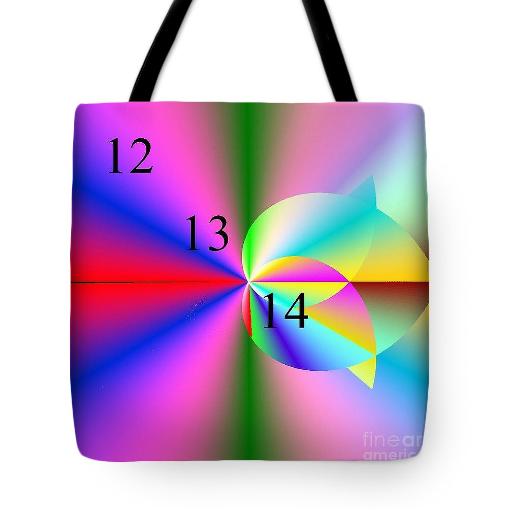 12/13/14 Rainbow Tulip Tote Bag featuring the digital art 12/13/14 Rainbow Tulip by Michael Skinner