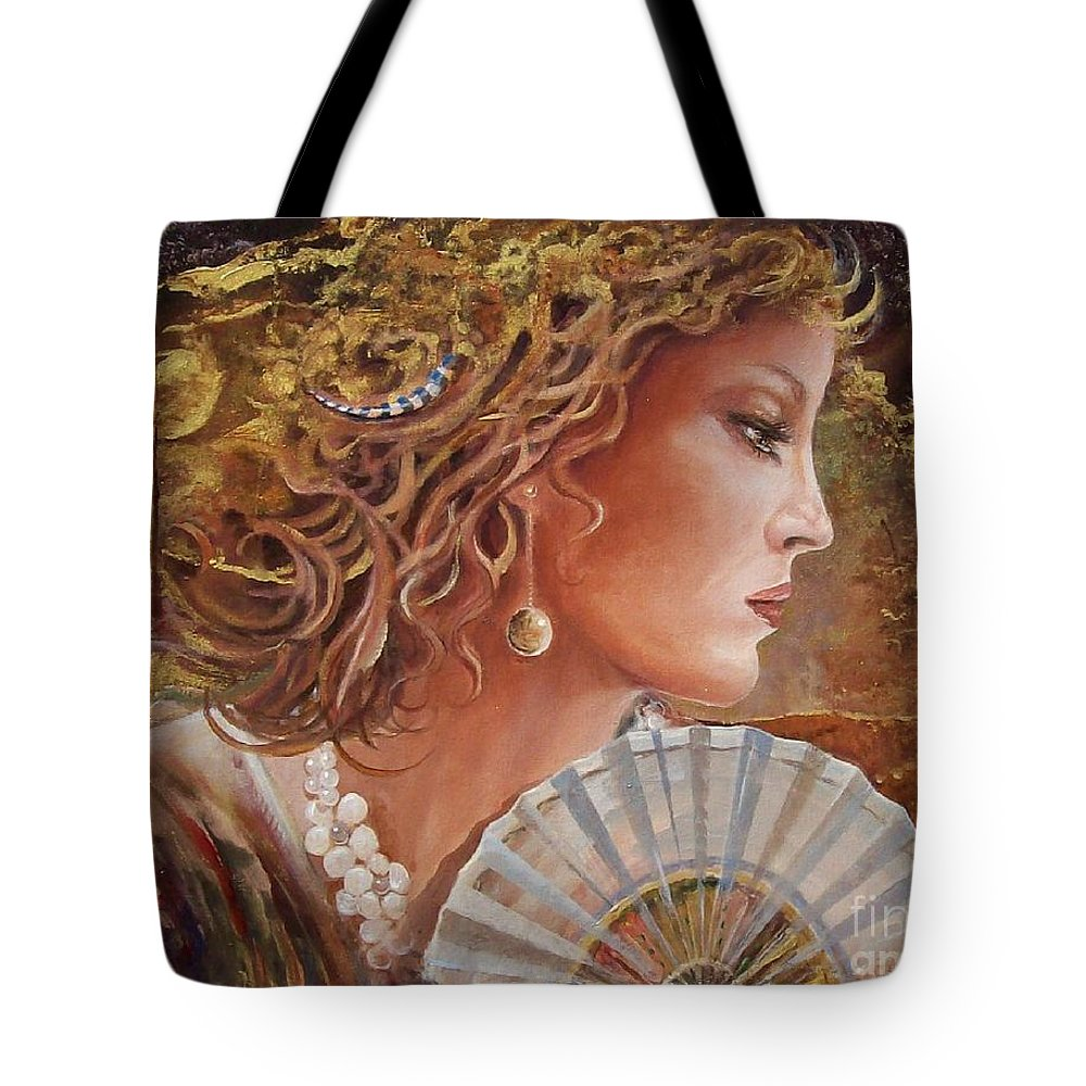 Female Portrait Tote Bag featuring the painting Golden Wood by Sinisa Saratlic