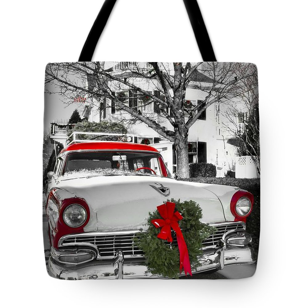 Bag featuring the photograph home for the holidays by brenda giasson