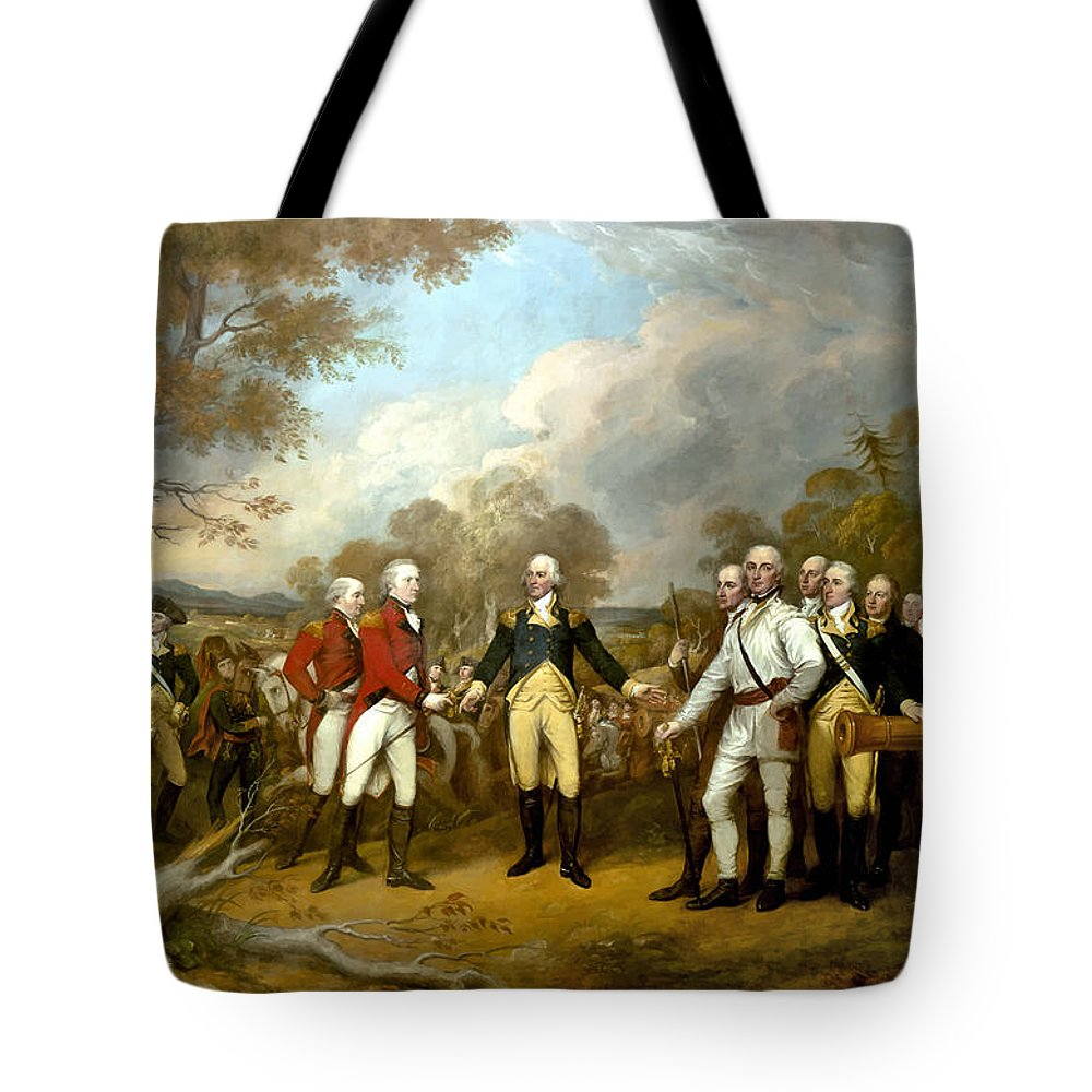 The surrender of general burgoyne tote bag for sale by war