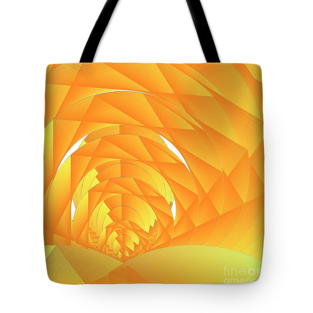 Cyber Sun Tote Bag featuring the digital art As The Cyber Sun Shrinks And Sets by Michael Skinner