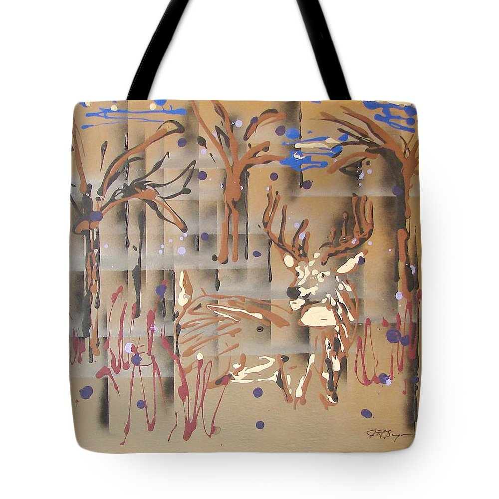 Buck In Tree Line Tote Bag featuring the painting Everwatchful by J R Seymour
