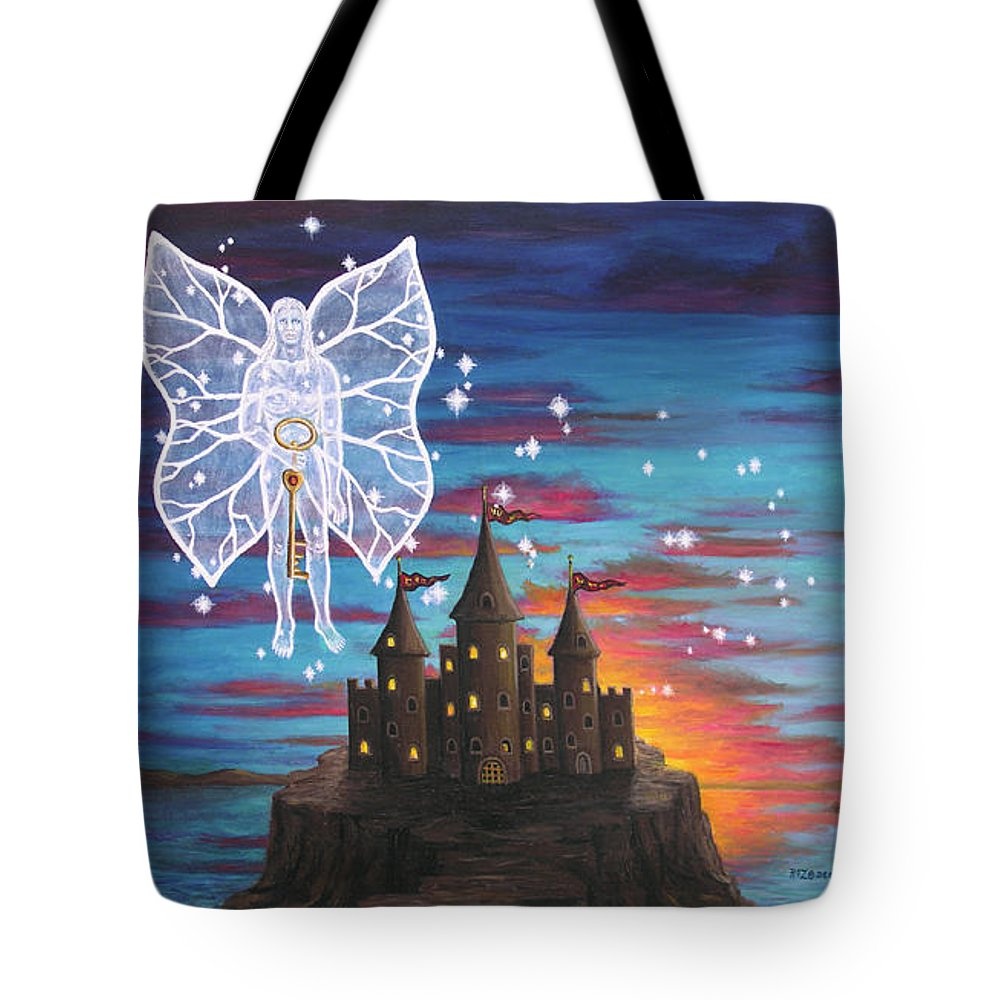 Fantasy Tote Bag featuring the painting Fairy Takes The Key by Roz Eve