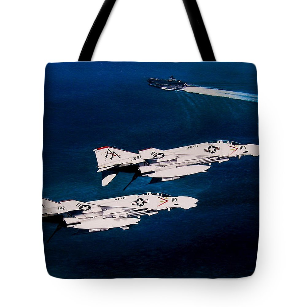 Military Tote Bag featuring the painting Forrestal S Phantoms by Marc Stewart
