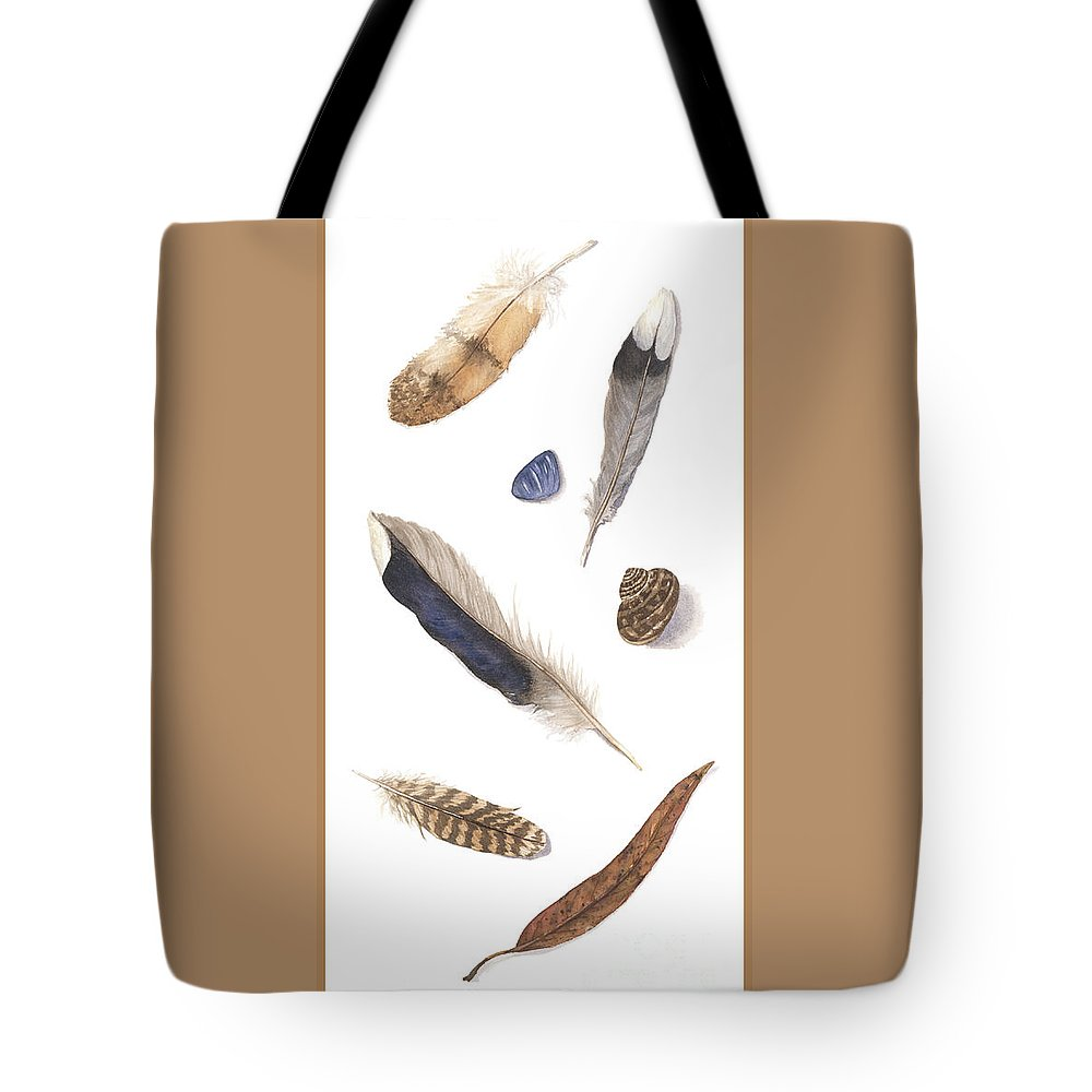 Feathers Tote Bag featuring the painting Found Treasures by Lucy Arnold