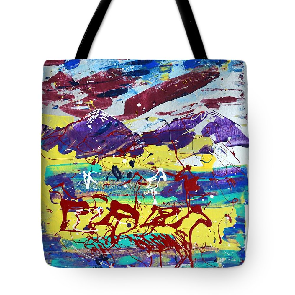 Horses Grazing Tote Bag featuring the painting Green Pastures And Purple Mountains by J R Seymour