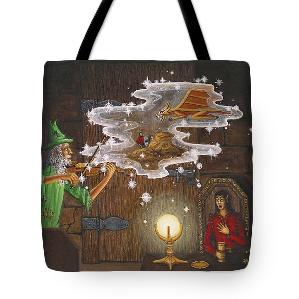 Fantasy Tote Bag featuring the painting Magic Violin by Roz Eve