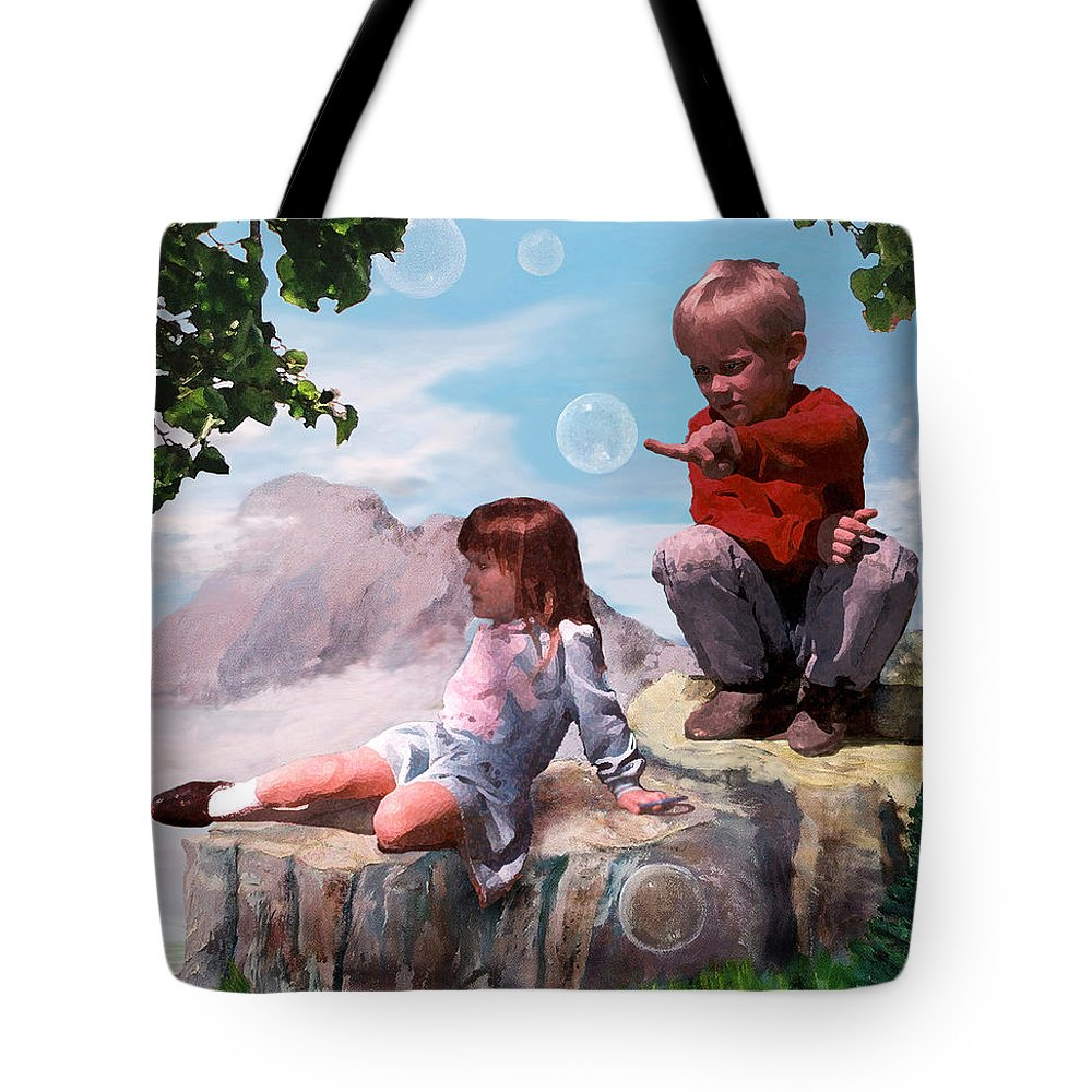 Landscape Tote Bag featuring the painting Mount Innocence by Steve Karol
