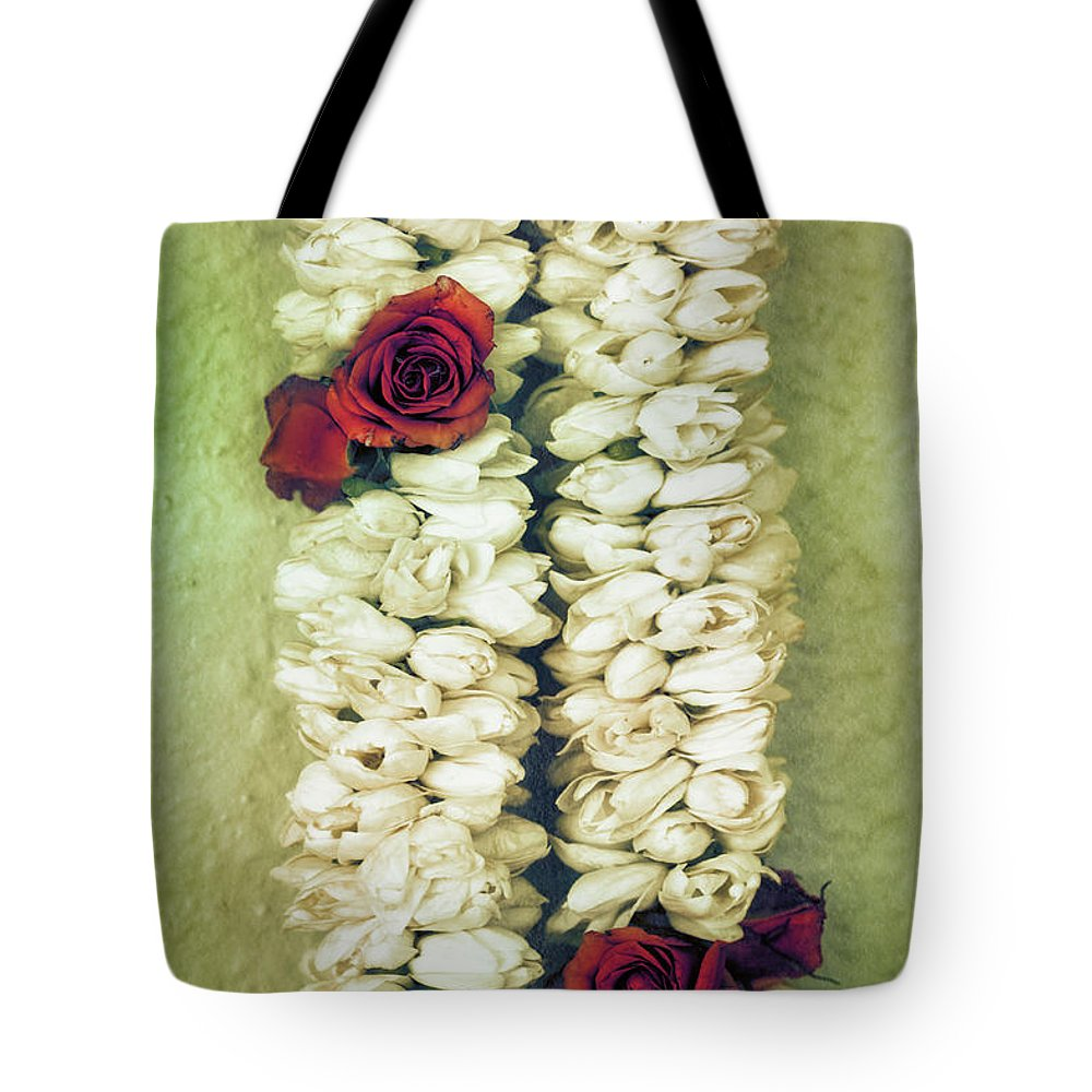 Floral Tote Bag featuring the photograph Pikake Lei by Jade Moon