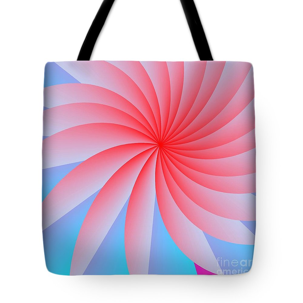 Abstract Tote Bag featuring the digital art Pink Passion Flower by Michael Skinner