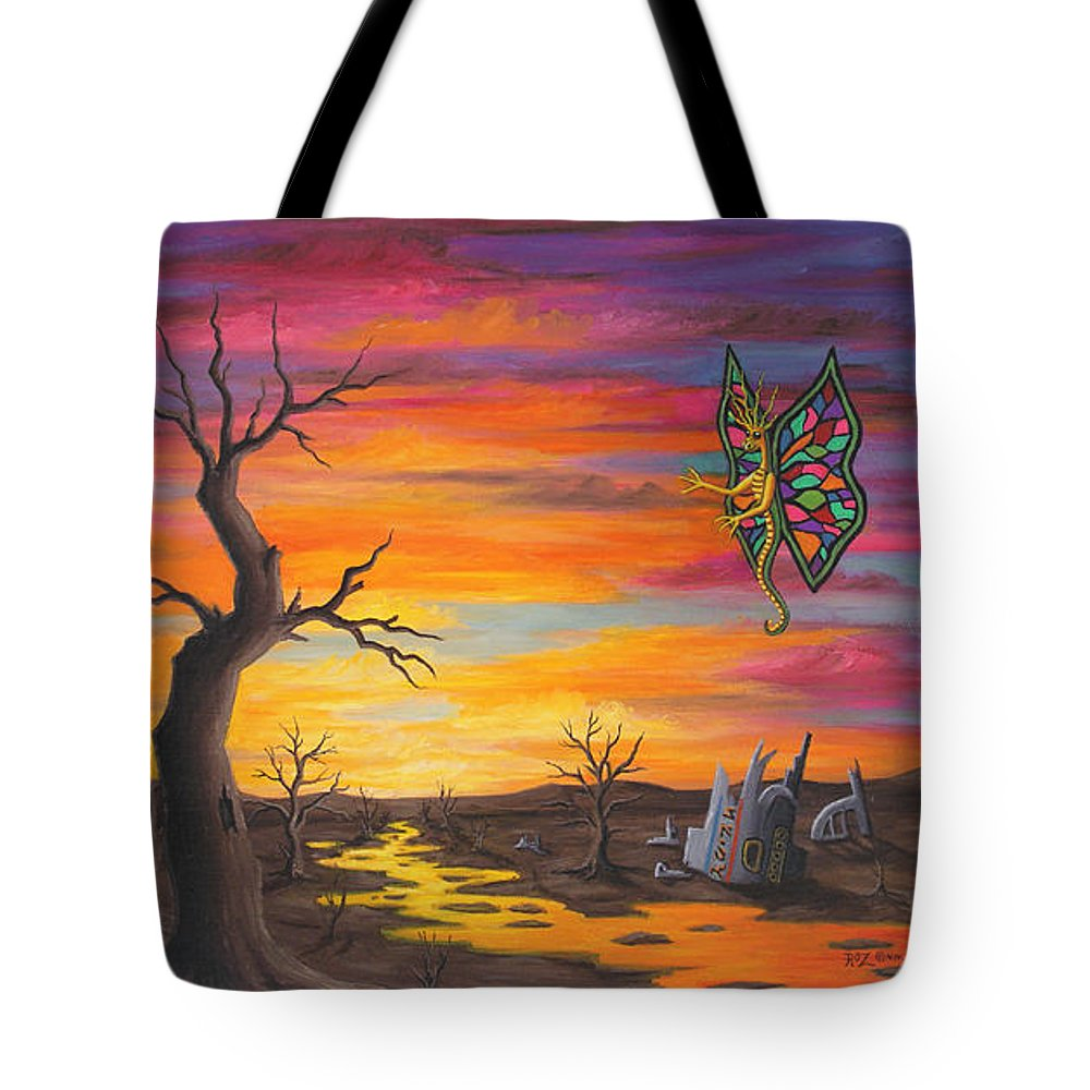 Fantasy Tote Bag featuring the painting Planet Px7 by Roz Eve