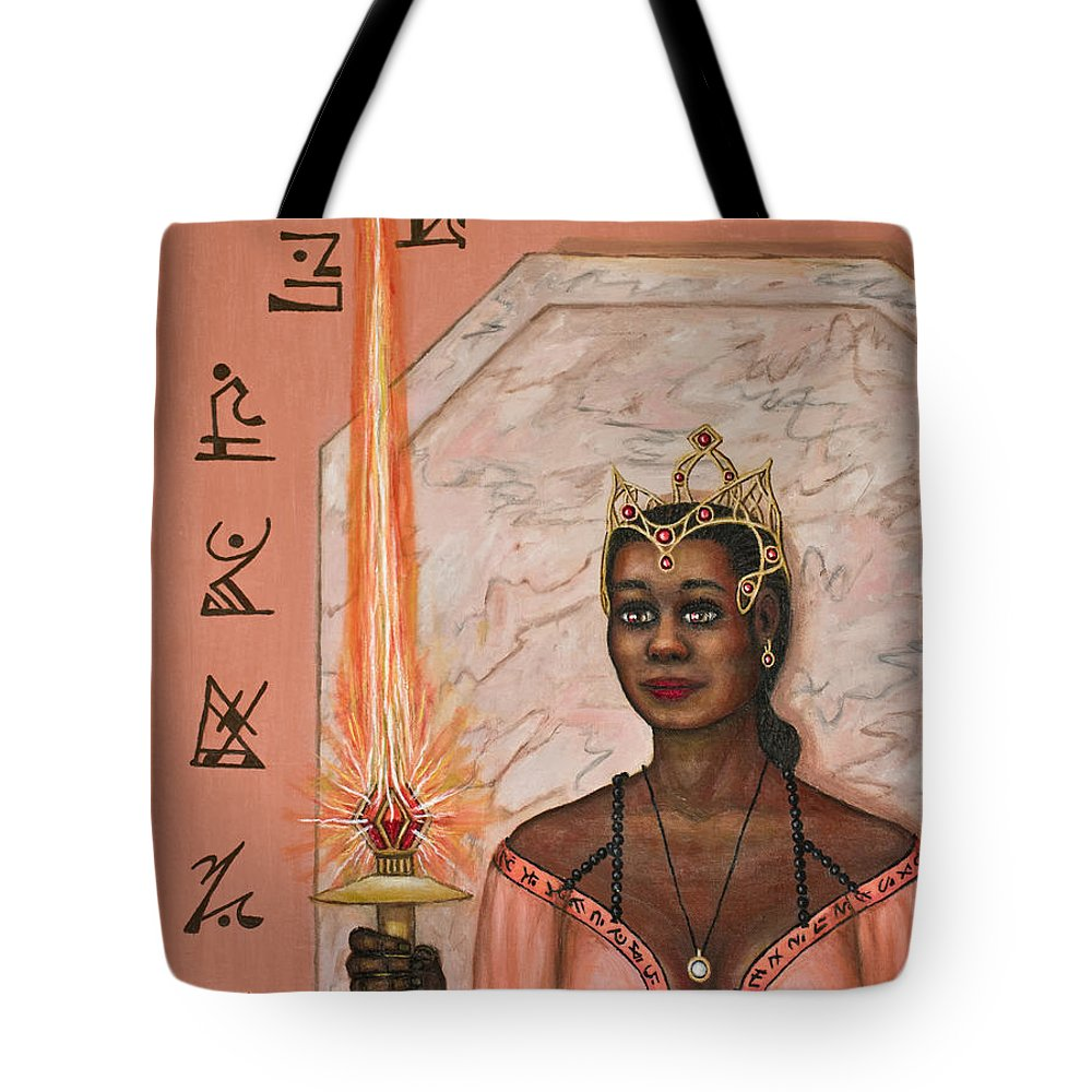 Fantasy Tote Bag featuring the painting Queens New Toy by Roz Eve