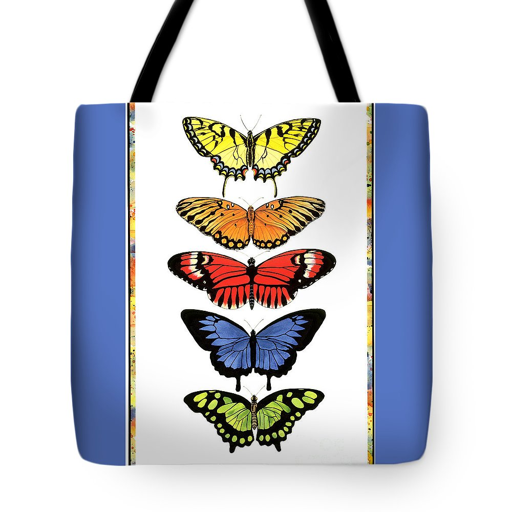 Butterflies Tote Bag featuring the painting Rainbow Butterflies by Lucy Arnold