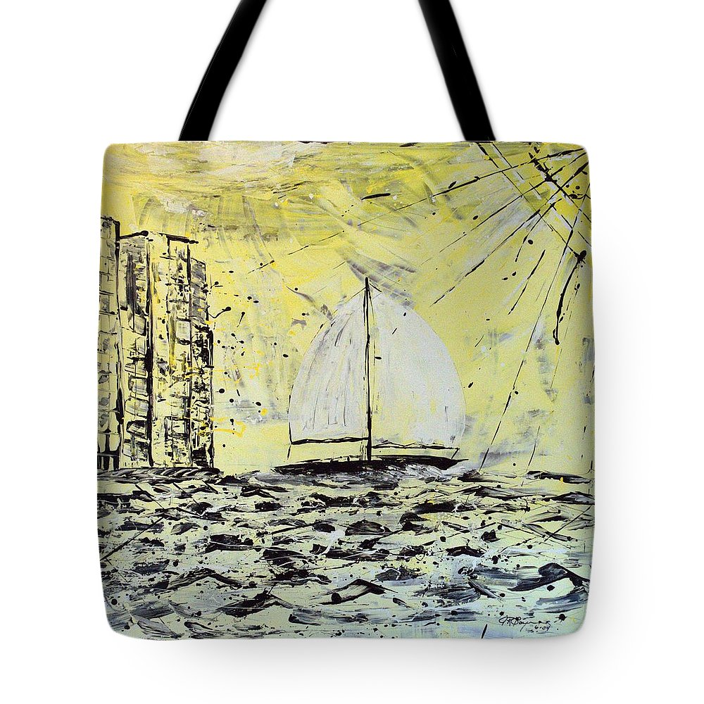 Sailboat With Sunray Tote Bag featuring the painting Sail And Sunrays by J R Seymour