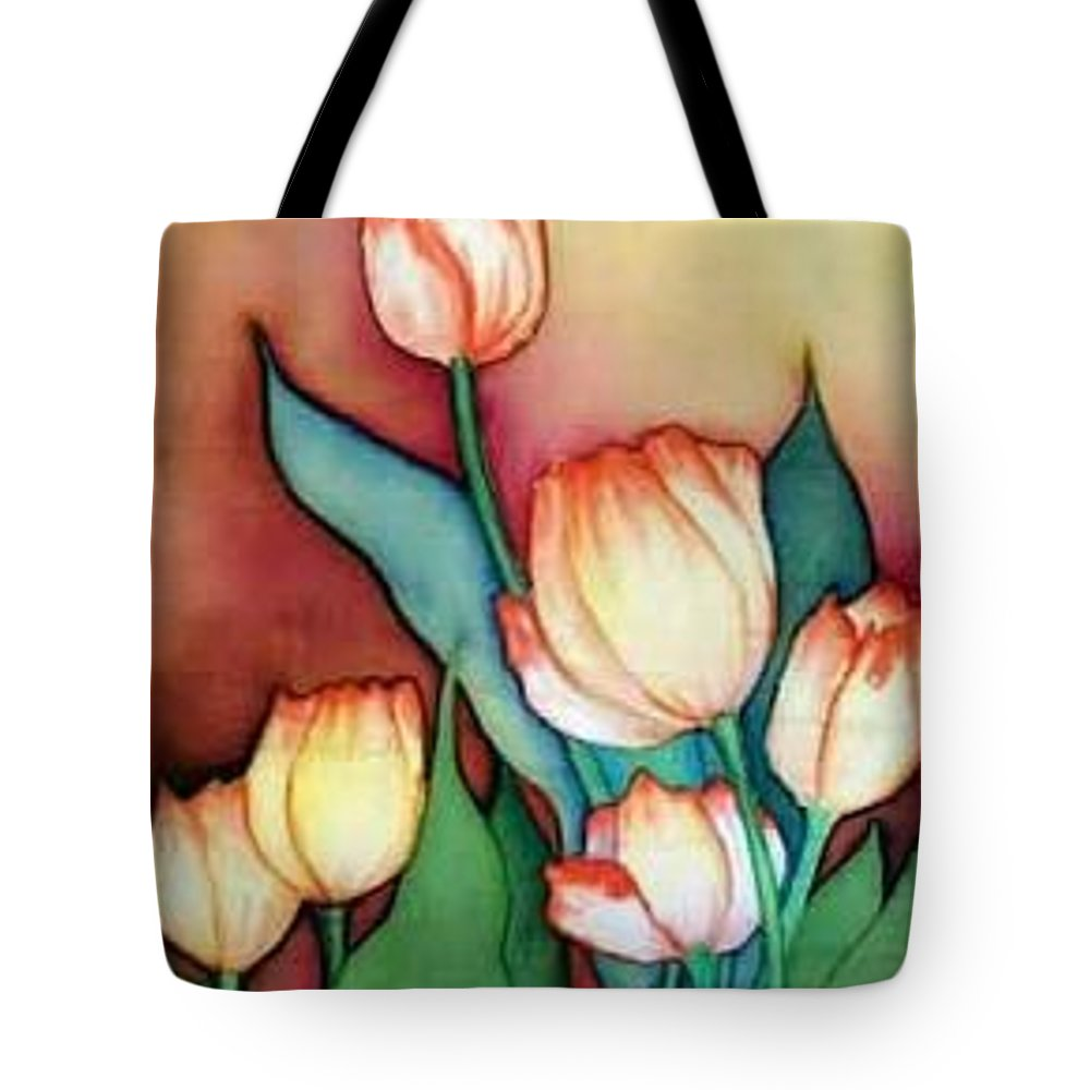 Silks Tote Bag featuring the painting Time For Tulips by Francine Dufour Jones