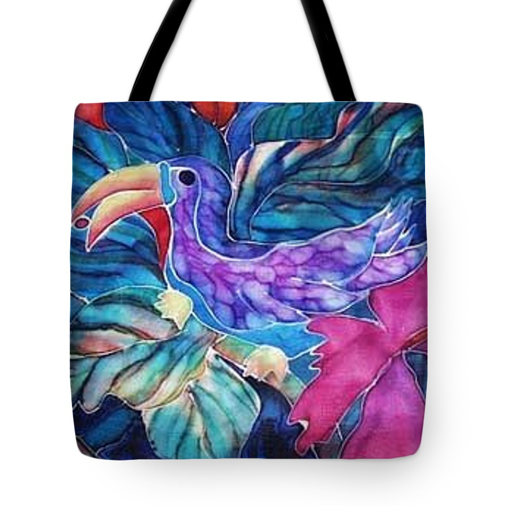 Tropical Tote Bag featuring the painting Toucan Two by Francine Dufour Jones