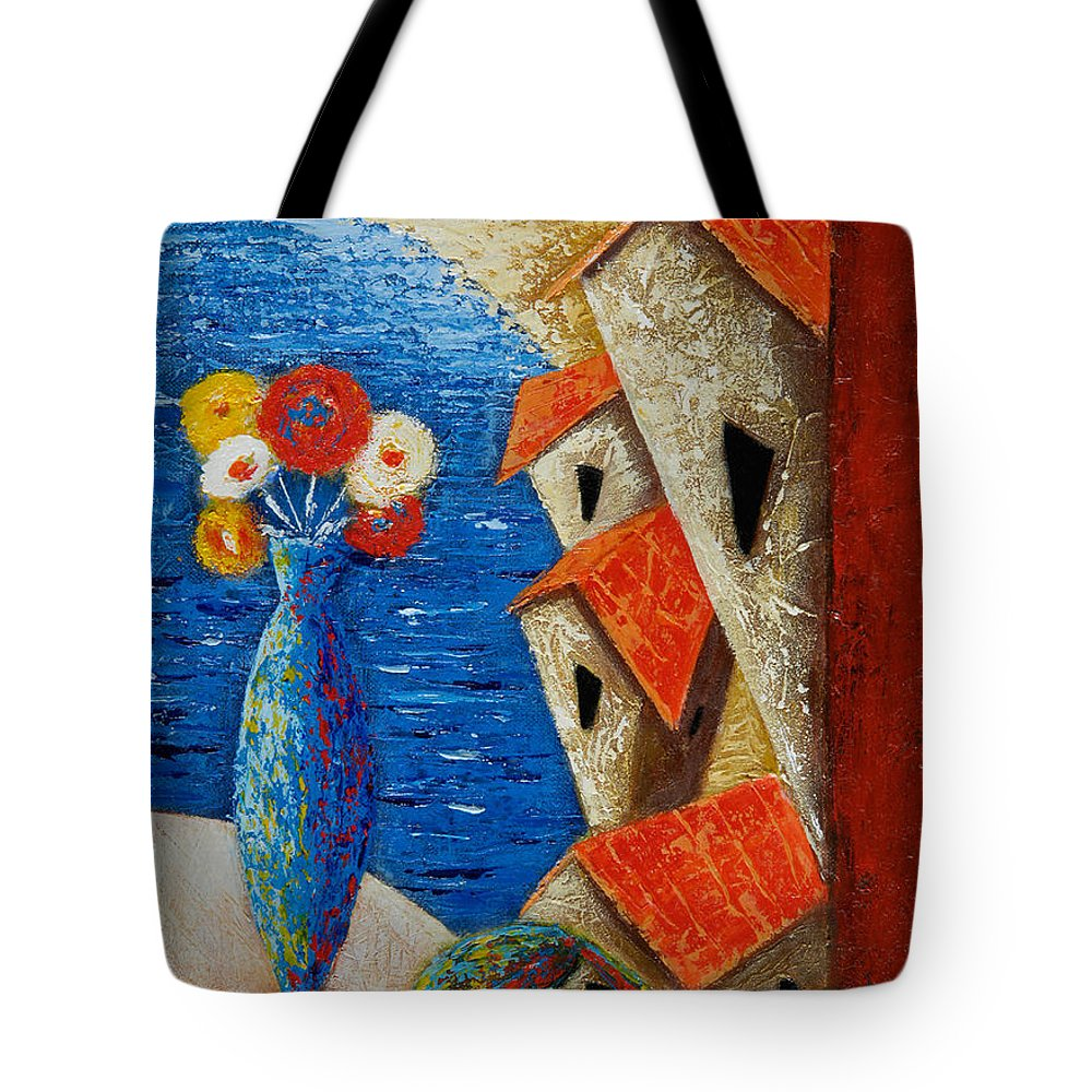 Landscape Tote Bag featuring the painting Ventana Al Mar by Oscar Ortiz