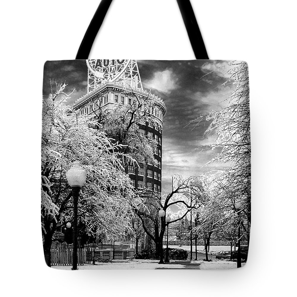 Western Auto Kansas City Tote Bag featuring the photograph Western Auto In Winter by Steve Karol