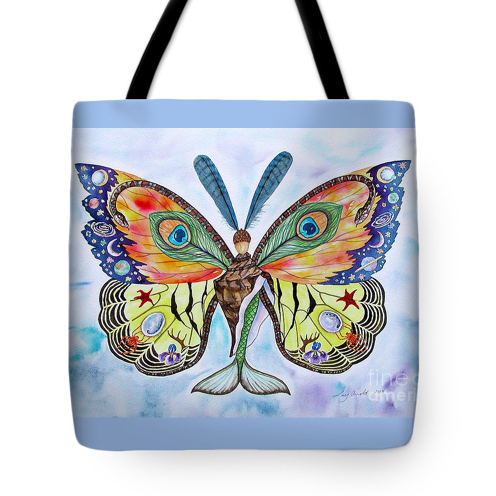 Butterfly Tote Bag featuring the painting Winged Metamorphosis by Lucy Arnold