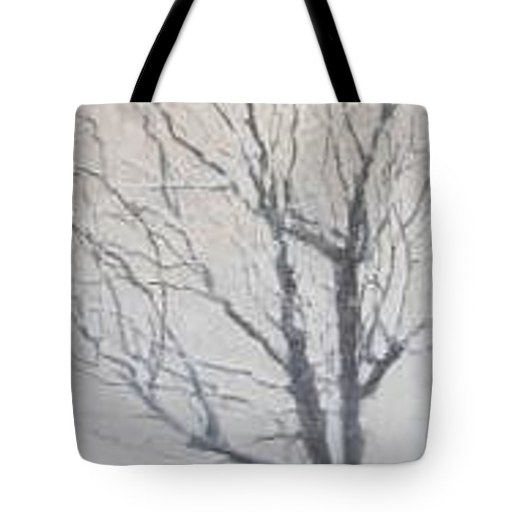 Tree Tote Bag featuring the painting Winter by Leah Tomaino