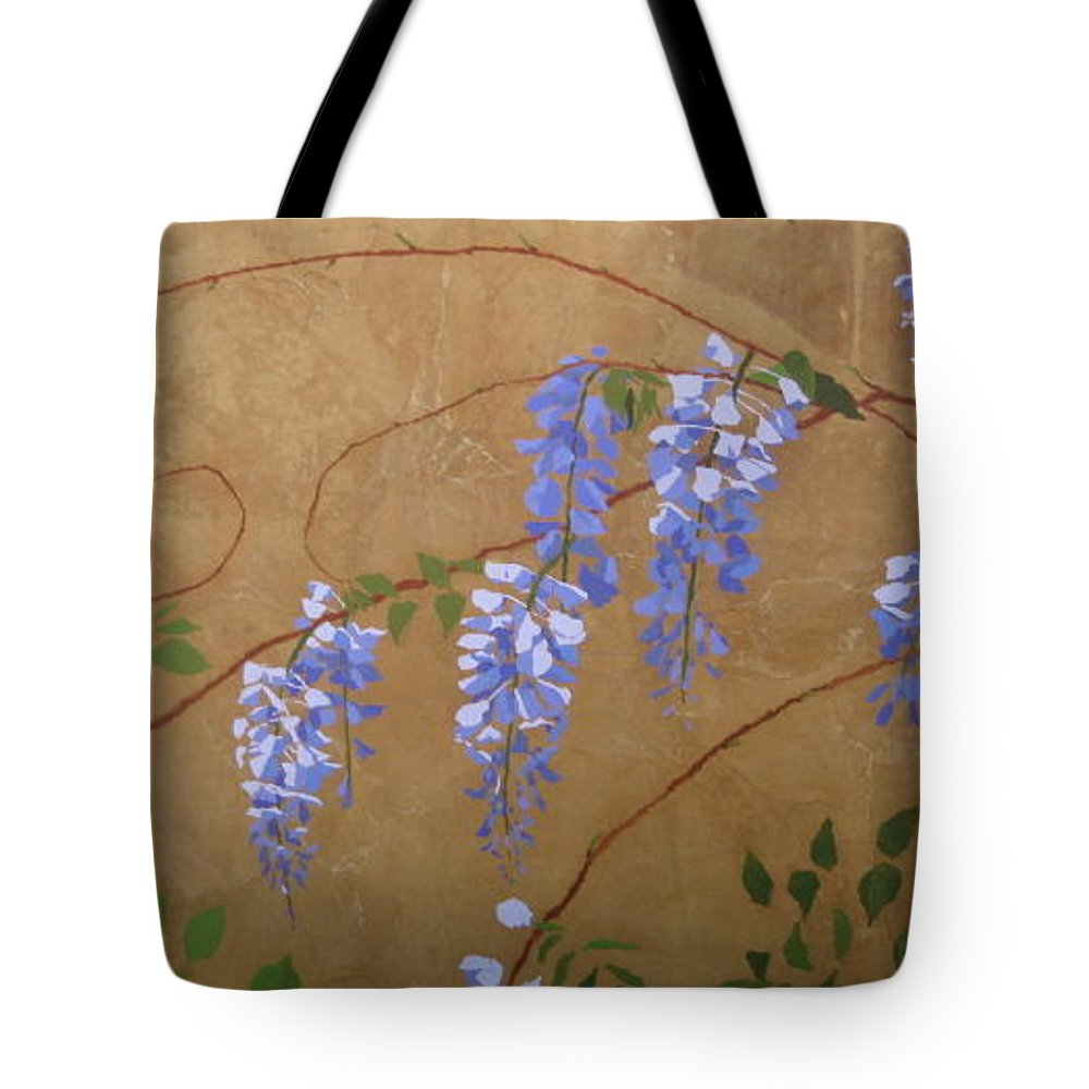 Periwinkle Wisteria Flowers Tote Bag featuring the painting Wisteria by Leah Tomaino