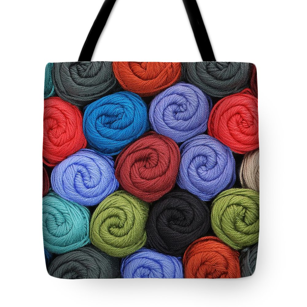 Yarn Tote Bag featuring the photograph Wool Yarn Skeins by Jim Hughes