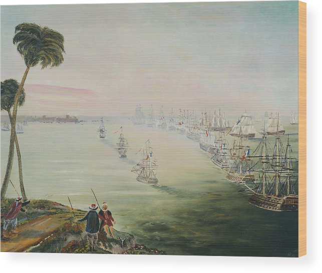 Sea Battle Wood Print featuring the painting Battle Of The Nile by Richard Barham