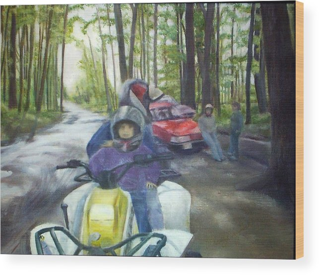 Quad Wood Print featuring the painting Be Right Back by Sheila Mashaw