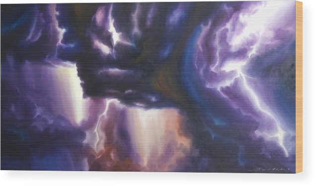 Tempest Wood Print featuring the painting The Lightning by James Christopher Hill