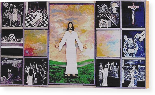 Jesus Wood Print featuring the relief All - 1 by Richard Hubal