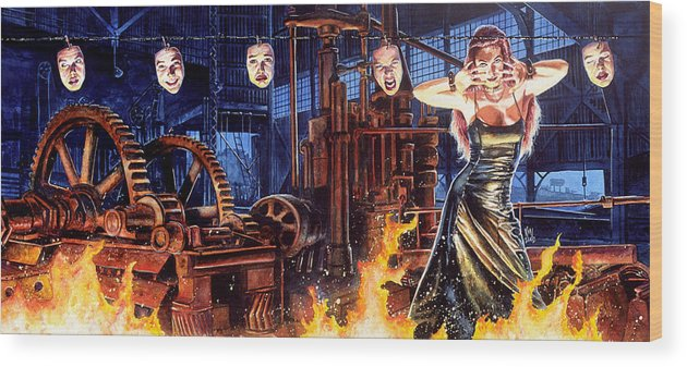 Fantasy Wood Print featuring the painting Masks by Ken Meyer jr