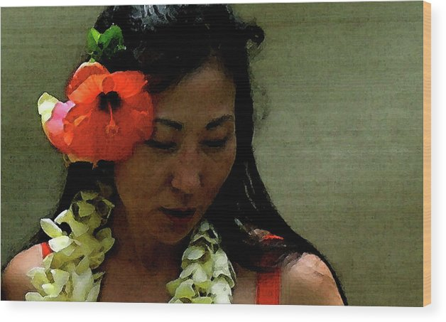 Hula Wood Print featuring the photograph Flower Sign by James Temple